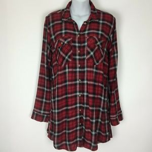 H&M Divided 4 Small Red Plaid Tunic Top Shirt
